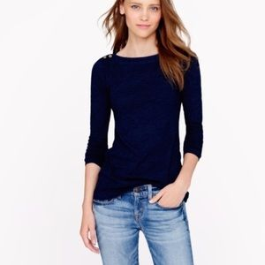 J.Crew Painter Tee Boatneck with Buttons in Indigo